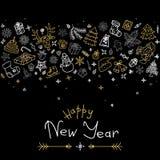 Gelukkige Nieuwjaar en Kerstmisgroetkaart met gouden en zilveren pictogrammen Royalty-vrije Stock Foto's