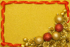 Gelukkige Nieuwjaar feestelijke achtergrond met rode en gouden ballen Royalty-vrije Stock Fotografie