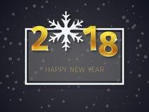 2018 Gelukkige Nieuwjaar gouden 3D tekst met het kader op de Kerstmis donkere vlakke achtergrond met dalende sneeuw Stock Foto's