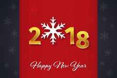 2018 Gelukkige Nieuwjaar gouden 3D tekst op de Kerstmis rode en donkere achtergrond met sneeuwvloksilhouetten Stock Fotografie