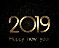 2019 Gelukkige Nieuwjaar gouden en zwarte achtergrond vector illustratie