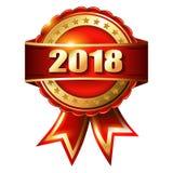 Gelukkige Nieuwjaar 2018 gouden etiket en zegel Royalty-vrije Stock Foto's