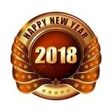 Gelukkige Nieuwjaar 2018 gouden etiket en zegel Stock Afbeeldingen