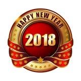 Gelukkige Nieuwjaar 2018 gouden etiket en zegel Royalty-vrije Stock Afbeelding