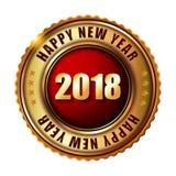 Gelukkige Nieuwjaar 2018 gouden etiket en zegel Stock Foto