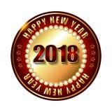 Gelukkige Nieuwjaar 2018 gouden etiket en zegel met diamanten Stock Foto's