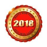 Gelukkige Nieuwjaar 2018 gouden etiket of zegel Stock Foto's