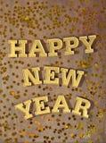 Gelukkige Nieuwjaar gouden tekst en gouden sterren Stock Fotografie