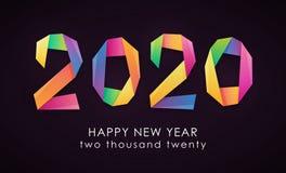 Gelukkige Nieuwjaar 2020 kleurrijke kaart vector illustratie