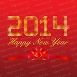 Gelukkige Nieuwjaar 2014 Rode Achtergrond Stock Foto