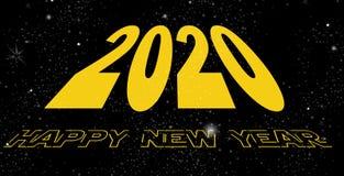 Gelukkige Nieuwjaar 2020 ruimte stock illustratie