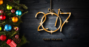 2017 Gelukkige Nieuwjaar seizoengebonden achtergrond met Kerstmissnuisterijen Stock Foto's