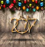 2017 Gelukkige Nieuwjaar seizoengebonden achtergrond met Kerstmissnuisterijen Royalty-vrije Stock Foto