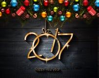 2017 Gelukkige Nieuwjaar seizoengebonden achtergrond met Kerstmissnuisterijen Stock Fotografie