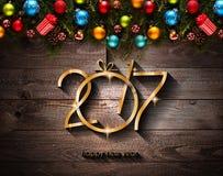 2017 Gelukkige Nieuwjaar seizoengebonden achtergrond met Kerstmissnuisterijen Royalty-vrije Stock Afbeeldingen