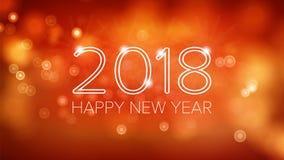 Gelukkige Nieuwjaar 2018 Vector Als achtergrond Oranje Bokeh in Uitstekende Stijl Vlieger of Brochureontwerpmalplaatje 2018 festi stock illustratie
