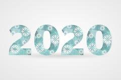 2020 Gelukkige Nieuwjaar vectorillustratie Decoratief veelhoekig teken met sneeuwvlokken Blauwe en witte geometrische decoratie Royalty-vrije Stock Afbeelding
