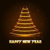 Gelukkige Nieuwjaar vectorillustratie met Kerstmisboom Royalty-vrije Stock Foto's