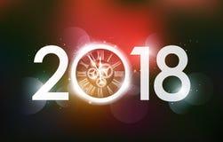 Gelukkige Nieuwjaar 2018 viering met witte lichte abstracte klok op witte achtergrond, het magische concept van de ogenblikaftelp Royalty-vrije Stock Afbeelding