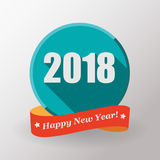 Gelukkige Nieuwjaar 2018 vlakke etiket en zegel Stock Foto's