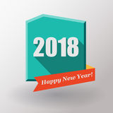 Gelukkige Nieuwjaar 2018 vlakke etiket en zegel Royalty-vrije Stock Afbeeldingen