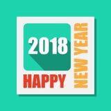 Gelukkige Nieuwjaar 2018 vlakke etiket en zegel Royalty-vrije Stock Fotografie