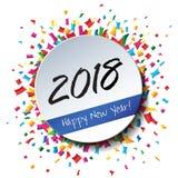 Gelukkige Nieuwjaar 2018 vlakke etiket en zegel Stock Afbeelding