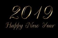 2019 Gelukkige Nieuwjaar zwarte Achtergrond Gouden tekstontwerp Donkere groetillustratie met gouden aantallen Beste Gouden tekste vector illustratie
