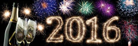 2016 Gelukkige Nieuwjaarachtergrond Stock Afbeeldingen