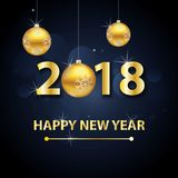 2018 Gelukkige Nieuwjaarachtergrond met gouden brieven en ballen Stock Fotografie