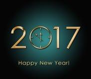 2017 Gelukkige Nieuwjaarachtergrond met gouden klok Stock Afbeeldingen