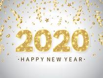 2020 Gelukkige Nieuwjaarachtergrond met heldere gouden teksten en aantallen De gelukkige vakantieachtergrond met gouden confettie vector illustratie