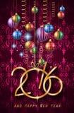2016 Gelukkige Nieuwjaarachtergrond voor uw Kerstmisdiners stock illustratie