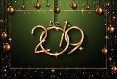 2019 Gelukkige Nieuwjaarachtergrond voor uw Seizoengebonden Vliegers en Gree stock afbeeldingen