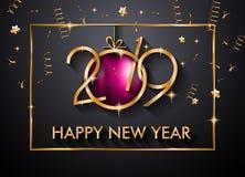 2019 Gelukkige Nieuwjaarachtergrond voor uw Seizoengebonden Vliegers en Gree stock foto's