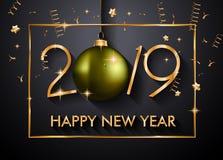 2019 Gelukkige Nieuwjaarachtergrond voor uw Seizoengebonden Vliegers en Gree stock foto