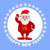 Gelukkige Nieuwjaaraffiche met Santa Claus op een blauwe achtergrond De groetkaart van de vakantie Vector illustratie vector illustratie