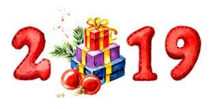 2019 Gelukkige Nieuwjaarbanner Giften en rode ballen Waterverfhand getrokken die illustratie, op witte achtergrond wordt geïsolee vector illustratie