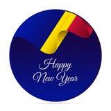 Gelukkige Nieuwjaarbanner of sticker De golvende vlag van Andorra De achtergrond van sneeuwvlokken Vector illustratie royalty-vrije illustratie