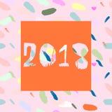 Gelukkige Nieuwjaarconfettien 2018 Stock Afbeelding