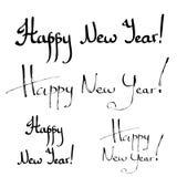 Gelukkige Nieuwjaarhand het van letters voorzien kalligrafie Stock Foto's