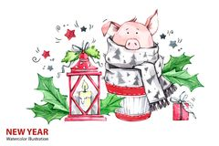 2019 Gelukkige Nieuwjaarillustratie Kerstmis Leuk varken in de wintersjaal met lamp en gift De cake van de groetwaterverf stock illustratie