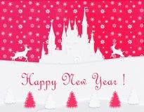 Gelukkige Nieuwjaarprentbriefkaar, wit kasteel, rendier, rode achtergrond Royalty-vrije Stock Foto
