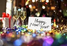 Gelukkige Nieuwjaarskaart in een partij stock afbeeldingen