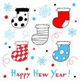 Gelukkige Nieuwjaarskaart met gestileerde Kerstmissokken op witte bac vector illustratie