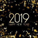 2019 Gelukkige Nieuwjaarskaart met gouden confettien vector illustratie