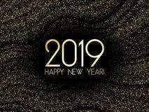 2019 Gelukkige Nieuwjaarskaart met gouden confettien royalty-vrije illustratie
