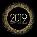 2019 Gelukkige Nieuwjaarskaart met gouden confettien stock illustratie