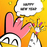 Gelukkige Nieuwjaarskaart met haan, voetzoeker en tekstwolk comics royalty-vrije illustratie