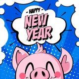 Gelukkige Nieuwjaarskaart met het hoofd van het varken en tekstwolk op blauwe achtergrond Groetkaart in strippaginastijl stock illustratie
